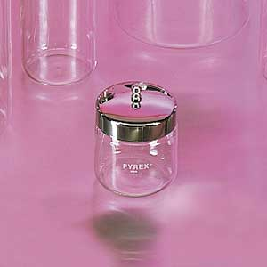 "Pyrex Glass Jar with Stainless Steel Cover, 3"" x 3"""