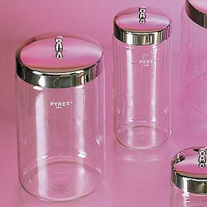 "Pyrex Glass Jar with Stainless Steel Cover, 7""x 3"""