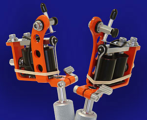 Orange Powder Coated Puma Quick Change Tattoo Machine w/6-Wrap Coils