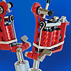 Red Powder Coated Puma Quick Change Tattoo Machine w/10-Wrap Coils