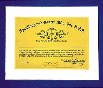 Spaulding & Rogers Official Body Piercing Certificate