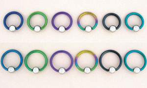 "Niobium Captive Bead Rings with 1/4"" Surgical Steel Ball"