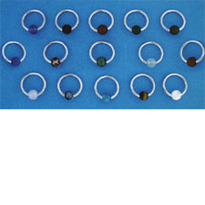 Captive Stones with Surgical Steel Ring