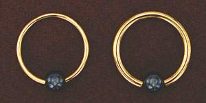 Solid Gold Captive Bead Ring with Hematite Ball