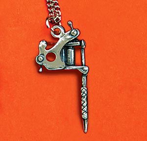Sterling Silver Tattoo Machine Necklace