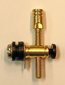 8-32 Round Brass Front Binding Post with Machined Brass Piston Contact Screw