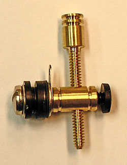 6-32 Round Brass Front Binding Post with Machined Brass Plain Contact Screw