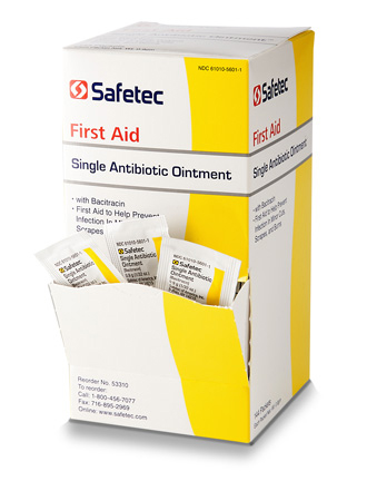 Safetec Single Antibiotic Ointment - Bacitracin Zinc - Box of 144