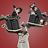 Left Handed Old Style Flat Black Supreme Quick Change Tattoo Machine with 8 Wrap Coils