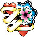 hearts-flower-banner-tattoo